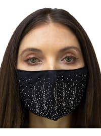 2 Pieces Embossed Stone/Solid Face Mask - Black / Silver - Back