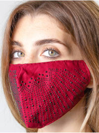 2 Pieces Embossed Stone/Solid Face Mask - Burgundy / Black - Back