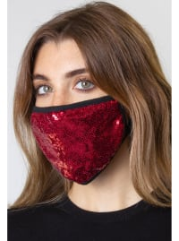 2 Pieces Sequin Face Mask Covering - Black / Burgundy - Back