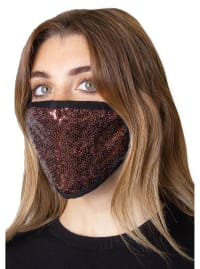 2 Pieces Sequin Face Mask Covering - Black / Bronze - Back