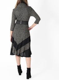 Cowl Neck Midi Knit Dress - Misses - Grey - Back