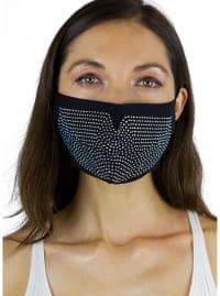 Stones / Solid Face Mask Covering - Black / Multi - Back