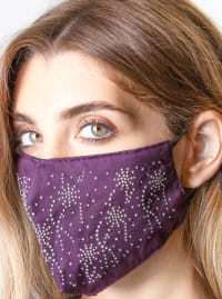 2 Pieces Stone/Solid Face Mask - Plum / Silver - Back