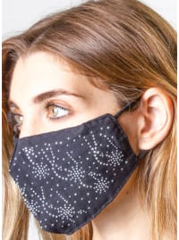 2 Pieces Stone/Solid Face Mask - Black / Silver - Back