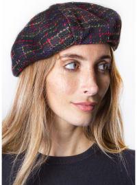Adrienne Vittadini Plaid Fall Beret Hat - Black - Back