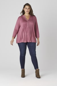 Roz & Ali Ruffle Neck Pintuck Popover - Plus - Mauve - Back