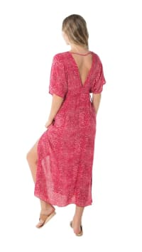 Bisous Tunic Sundress - Ular Red - Back