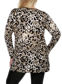 Leopard Jacquard Open Cardigan - Plus - Bengal - Back