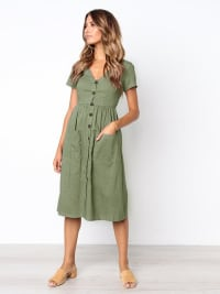 Buttoned V-Neck Dress With Pockets - Khaki - Back