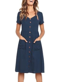 Buttoned V-Neck Dress With Pockets - Navy blue - Back