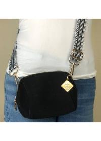 Hexy Vegan Leather Crossbody - Black - Back