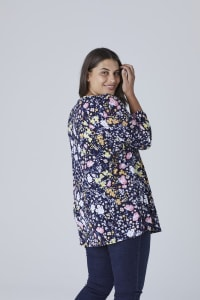Roz & Ali Multi Color Floral Popover - Plus - Navy - Back