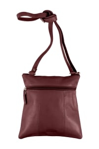 Champs Leather Crossbody Bag With RFID Protection - Burgundy - Back