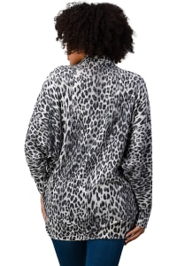 Brushed Hacci Leopard Printed Cocoon Cardigan - Black - Back