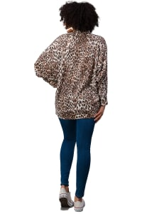 Brushed Hacci Leopard Printed Cocoon Cardigan - Brown - Back