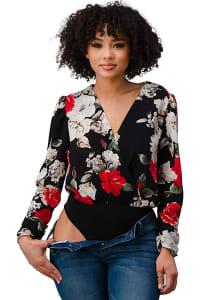 Wool Dobby Floral Bodysuit - Back