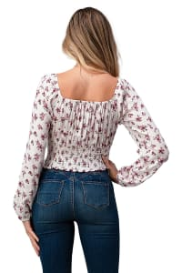 Ditsy Floral Long Sleeve Peasant Blouse Top - Back