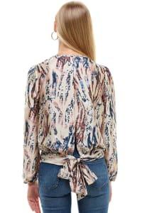 Animal Printed Long Sleeve Surplice Tie Blouse Top - Back
