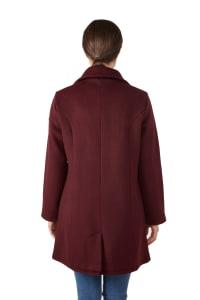 Modern Eternity Khloe 3-in-1 Wool Maternity Coat Semi-Fitted - Burgundy - Back