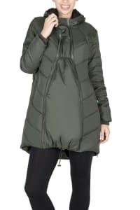 Modern Eternity Harper 3-in-1 Maternity Coat Cocoon Mid Thigh - Khaki Green - Back