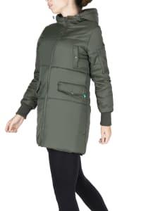 Modern Eternity Faith 3-in-1 Maternity Bomber Coat - Khaki Green - Back