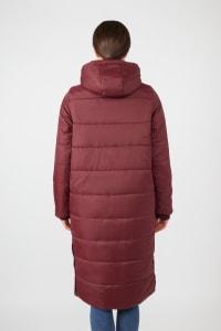Modern Eternity Penelope 3-in-1 Long Puffer Maternity Coat - Burgundy - Back