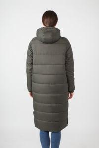 Modern Eternity Penelope 3-in-1 Long Puffer Maternity Coat - Khaki Green - Back
