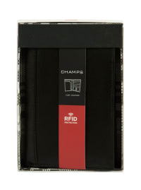 Champs Leather RFID Blocking Passport Holder - Black - Back