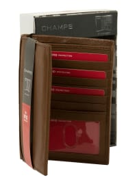 Champs Leather RFID Blocking Passport Holder - Tan - Back