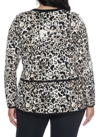 Leopard Jacquard Sweater Jacket - Plus - Bengal/Black - Back