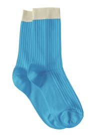 Color Blocked Rib Socks - Peacock - Back