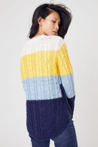 Westport Colorblock Curved Hem Sweater - Misses - Navy Multi - Back