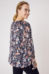 Roz & Ali Bouquet Floral Bubble Hem Lurex Blouse - Plus - Back