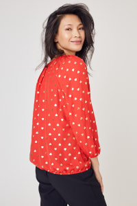 Roz & Ali Gold Heart Foil Bubble Hem Blouse  - Misses - Red/Gold - Back