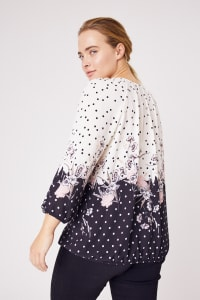 Roz &  Ali Border Dot Crepe Bubble Hem Blouse - Plus - Blush/Ivory/Black - Back