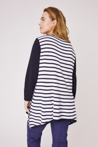 Roz & Ali Contrast Stripe Sweater - Plus - Black/Cream - Back