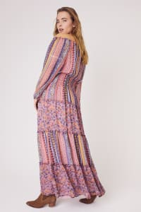Multi Stripe Maxi Peasant Dress  - Plus - eggplant - Back