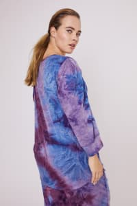 DB Sunday Tie Dye Puff Sleeve Sweatshirt - Plus - Blue/Purple - Back
