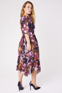 Ruffle Hem Floral Dress - Plus - Black/Fushia - Back
