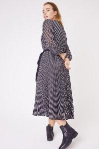 Pleated Midi Dot Dress - Plus - Back