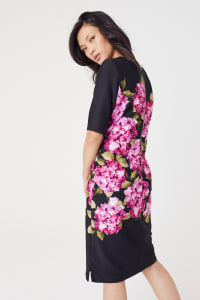 Scuba Floral Sheath Midi Dress - Black/Magenta - Back