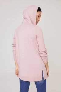 Westport Pocket Hoodie Open Cardigan - Misty Rose - Back