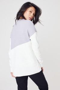 Roz & Ali Colorblock Pullover Sweater - Pearl Grey/Winter White - Back