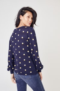 Roz & Ali Novelty Dot Pullover Sweater - Navy/Gold/White - Back