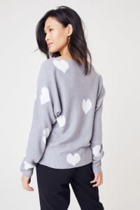 Westport I Wear My Heart on My Sleeve Sweater - Grey/White - Back