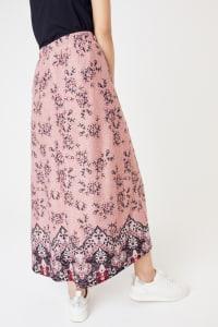 Roz & Ali Hacci Aline Border Print Maxi Skirt - Misses - Blush/Taupe/Black - Back
