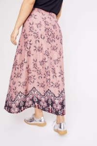 Roz & Ali  Hacci Aline Border Print Maxi Skirt - Plus - Blush/Taupe/Black - Back