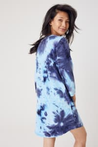 French Terry Tie Dye Dress - Navy - Back