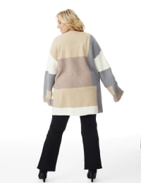 Westport Color Block Cardigan - Plus - Neutral Combo - Back