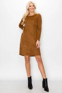 Aurora Long Sleeve Round Neck Dress - Caramel - Back
